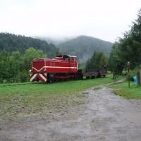 Lokomotiva vyjíždí z Cisny