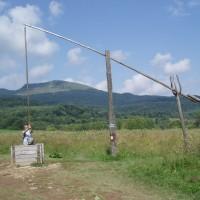 Mělká studna pro napájení dobytka, v pozadí Tarnica